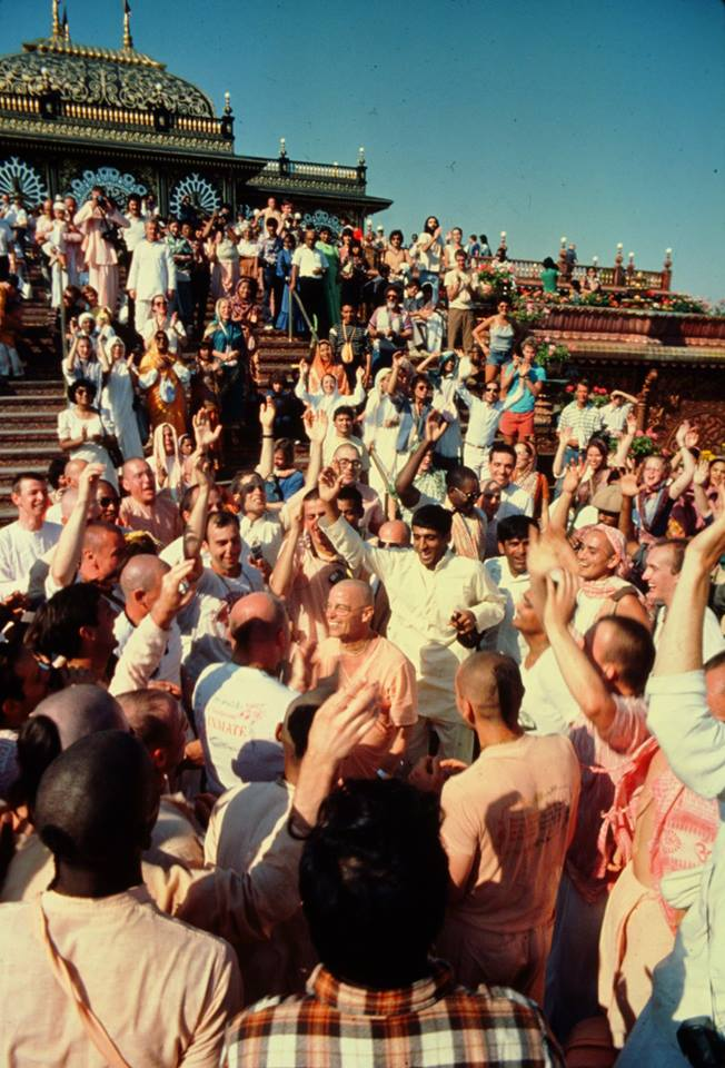 Bhaktipada (in center) and devotees having kirtan at Prabhupada's Palace of Gold, New Vrindaban, West Virginia, Labor Day Weekend (September), ca. 1982.