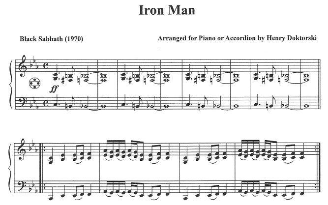 Black Sabbath Iron Man for Accordion, CD & Music