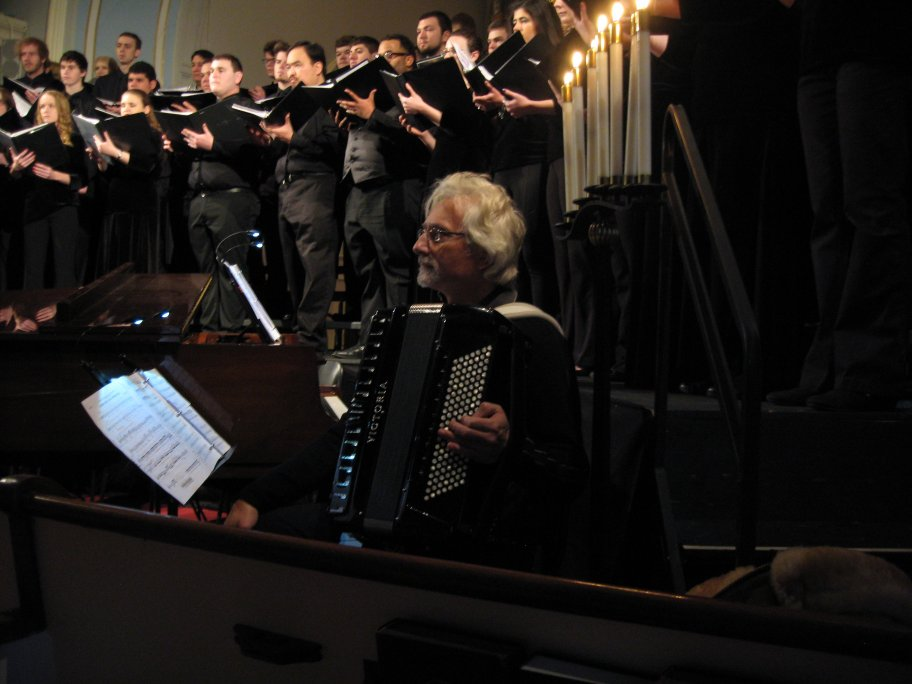 Henry Doktorski with the Ramapo College Choir