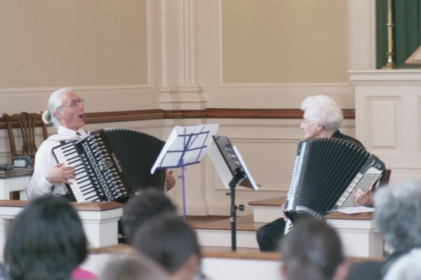 Henry Doktorski and Joan Gilyeat Moyer perform at the Meridian Street Methodist Church Chapel.